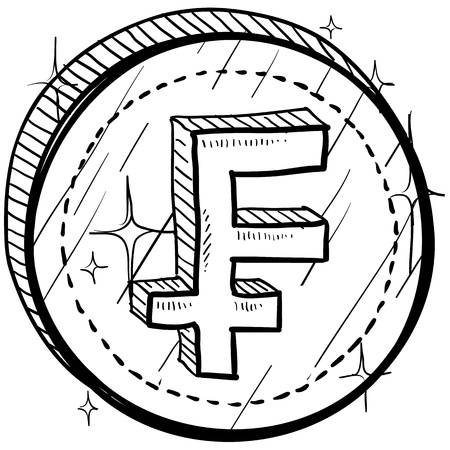 Doodle style coin with currency symbol - Franc  Vector