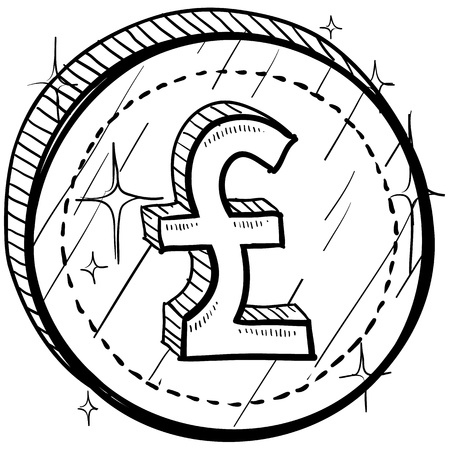 symbol: Doodle style coin with currency symbol - British Pounds Sterling  Illustration