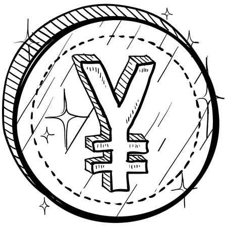 japanese yen: Doodle style coin with currency symbol - Japanese Yen
