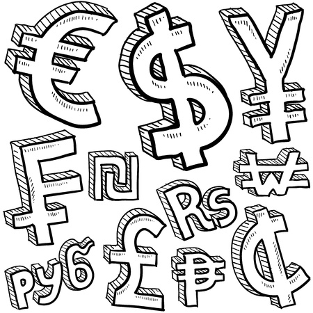 Doodle style coin with currency symbol set including euro, dollar, yen, pound, cent, ruble, won, yuan, shekel, and franc