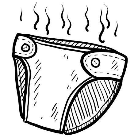 bimbo pannolino: Doodle pannolino illustrazione stile puzzolente in formato vettoriale