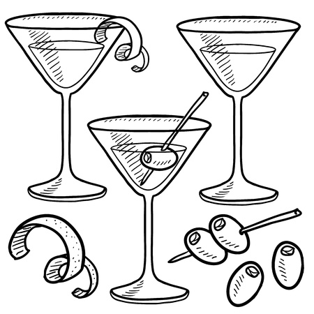 martini glass: Doodle style martini drink set including olives, glass, lemon or orange peel, and stirrers