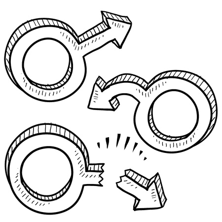 Doodle style male gender symbols in vaus states including virile, limp, and broken to indicate male ego or sexual performance  Stock Vector - 14460849