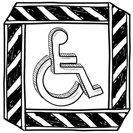 disabled parking sign: Doodle style handicapped wheelchair symbol with caution tape border