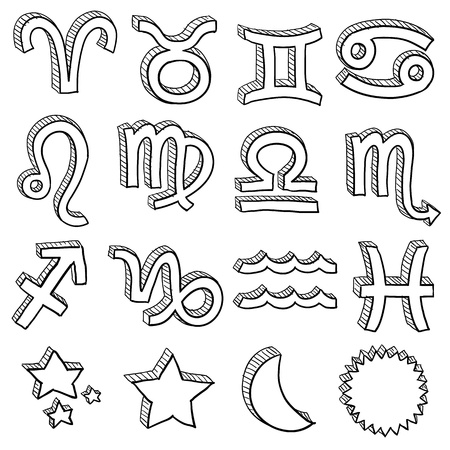 virgo: Doodle estilo de la astrolog�a del zodiaco s�mbolo de conjunto incluyendo todas las insignias hor�scopo de doce