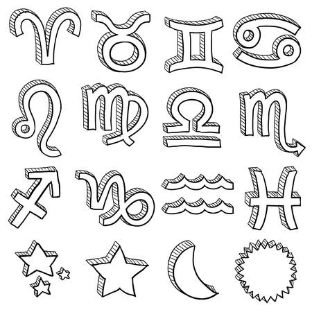 Doodle style zodiac astrology symbol set including all twelve horoscope insignia  Illustration