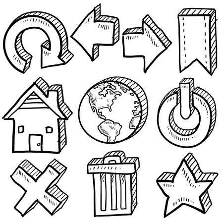 Doodle style internet symbol set that includes arrows, refresh, home, trash, close, favorite, and power icons Vettoriali