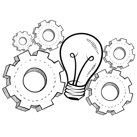 indicate: Doodle style idea light bulb with working gears to indicate invention