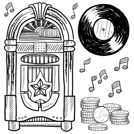 Doodle style retro jukebox with vinyl record, coins, and musical notes