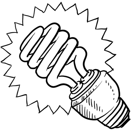 Doodle style compact fluorescent light illustration in vector format  Stock Illustratie