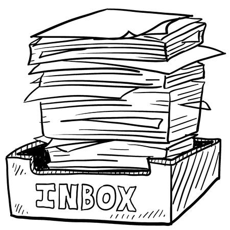 Doodle stijl inbox beeld met een enorme stapel documenten te verwerken, met vermelding van zaken, werk, of stress