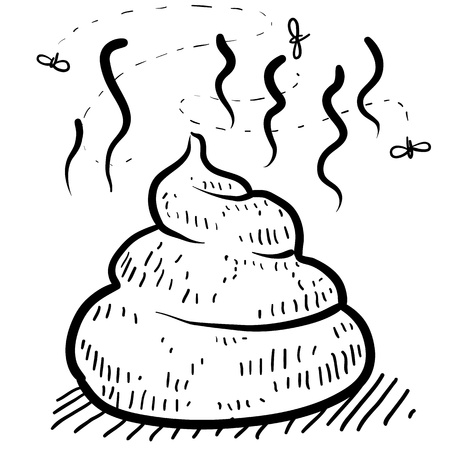 Doodle style pile of poo illustration in vector format