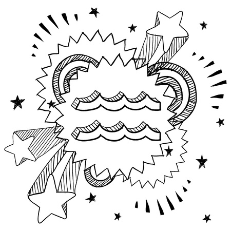 Doodle style zodiac astrology symbol on 1960s or 1970s pop explosion background - Aquarius Stock Vector - 14460866