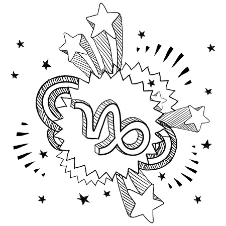 Doodle style zodiac astrology symbol on 1960s or 1970s pop explosion background - Capricorn Stock Vector - 14460870