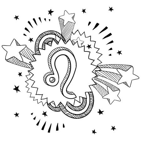 Doodle style zodiac astrology symbol on 1960s or 1970s pop explosion background - Leo