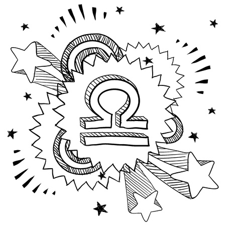 Doodle style zodiac astrology symbol on 1960s or 1970s pop explosion background - Libra  Vector