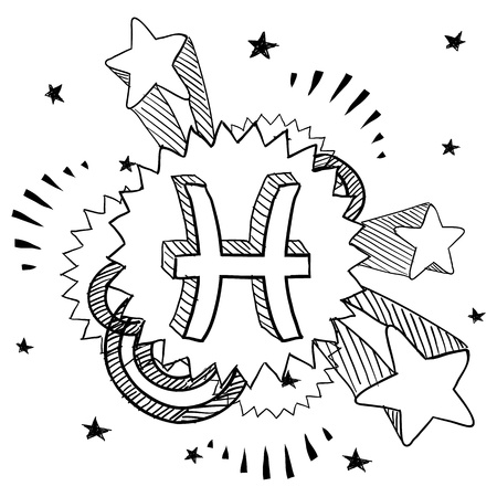 Doodle style zodiac astrology symbol on 1960s or 1970s pop explosion background - Pisces Stock Vector - 14460825
