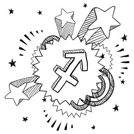 Doodle style zodiac astrology symbol on 1960s or 1970s pop explosion background - Sagittarius Stock Vector - 14460823