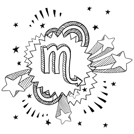 new age: Doodle style zodiac astrology symbol on 1960s or 1970s pop explosion background - Scorpio  Illustration
