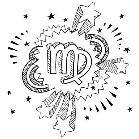처녀 자리 - 1960 년대 또는 1970 년대 팝 폭발 배경에 낙서 스타일 조디악 점성술 기호 일러스트