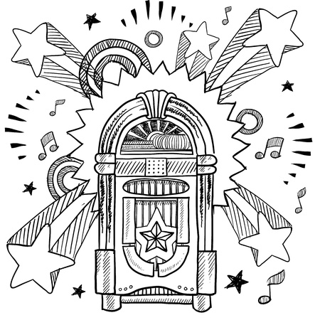 Doodle style vintage jukebox with 1970s style pop explosion background  Vector