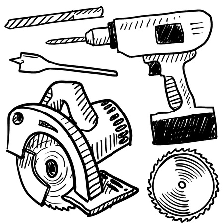 drill bit: Doodle style power tools illustration in vector format
