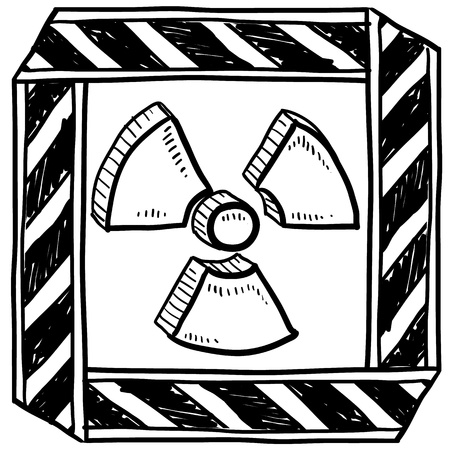 Doodle style radiation symbol with caution tape border  Illustration