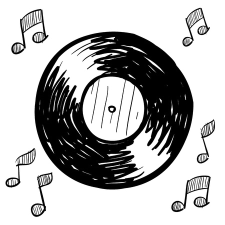Doodle stijl vinyl record illustratie in vectorformaat