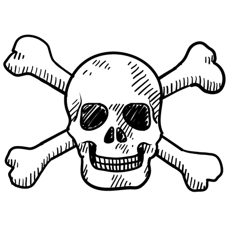 roger: Doodle style skull and crossbones illustration in vector format