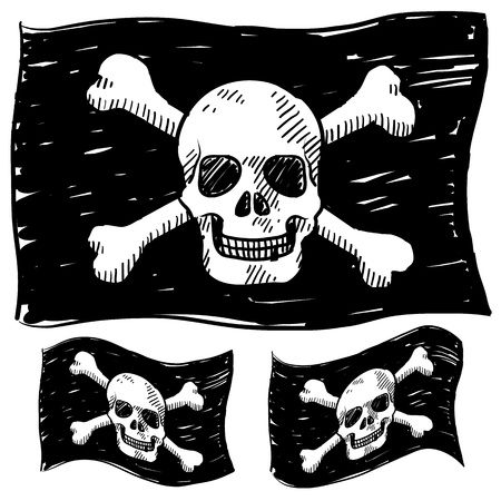 Doodle style jolly roger skull and crossbones illustration in vector format  Çizim