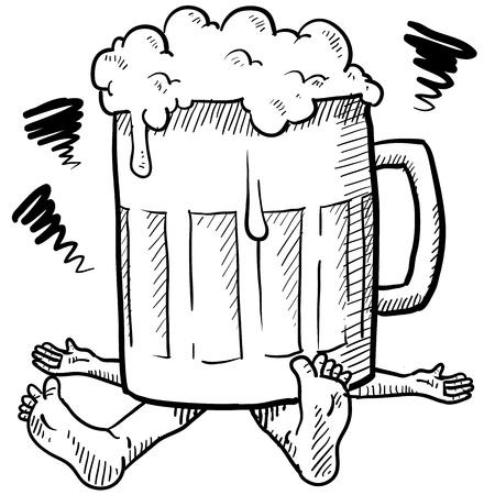 Doodle stijl alcoholisme of kater illustratie in vector-formaat