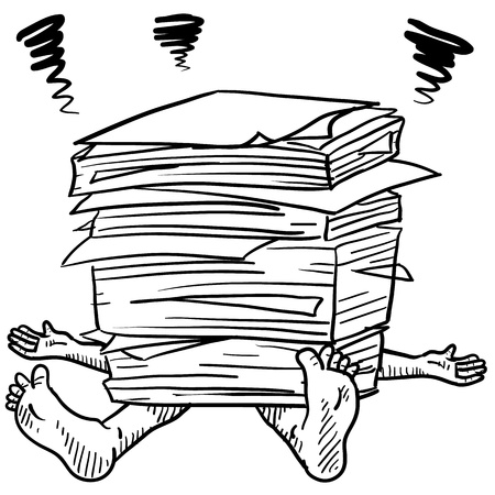 Doodle style paperwork stress illustration in vector format