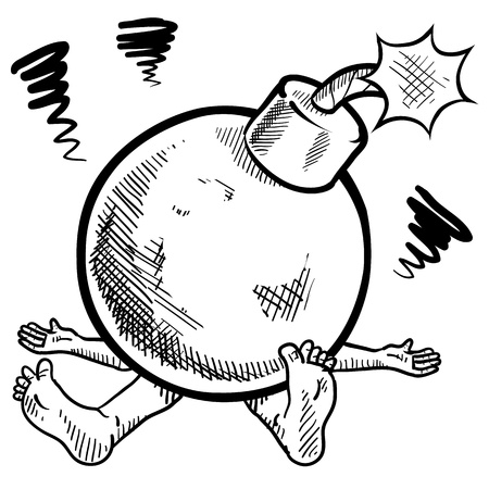 Doodle style ticking time bomb of stress illustration in vector format