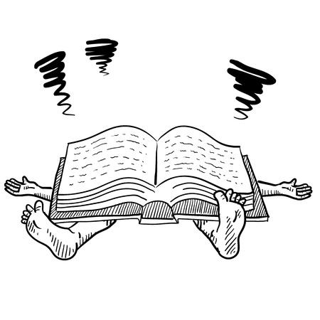 문학의: 낙서 스타일의 시험 또는 벡터 형식으로 공부 스트레스 그림