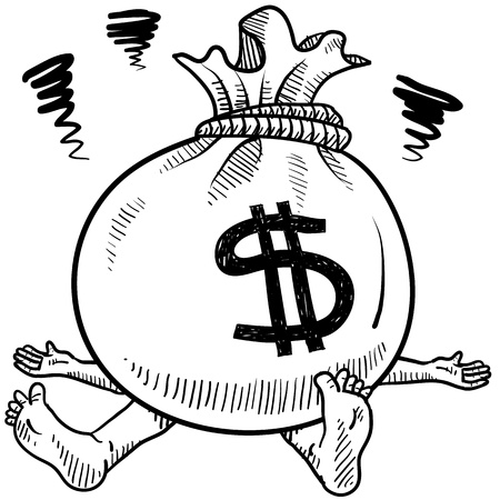 bankruptcy: Doodle style money problems illustration in vector format