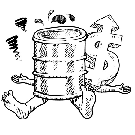 oil pipeline: Doodle style oil prices hurting people illustration in vector format