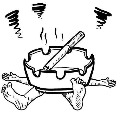 carcinogen: Cigarrillos de estilo Doodle o ilustraci�n la adicci�n al tabaco en formato vectorial