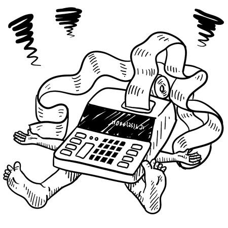 business stress: Presupuesto de estilo de dibujo, los impuestos, el estr�s o la ilustraci�n de dinero en formato vectorial