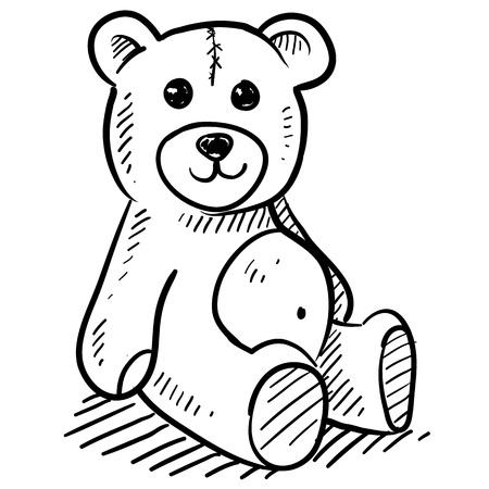벡터 형식으로 낙서 스타일의 아이의 테디 베어 그림 일러스트