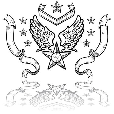 fighter pilot: Insegne stile Doodle militare della US Air Force compresi ali d'aquila e le stelle