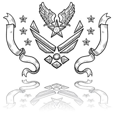fighter pilot: Doodle stile militare rango insegne per la US Air Force, retr� con ali d'aquila e stella