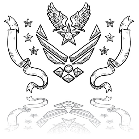 Doodle style military rank insignia for US Air Force, retro with eagle wings and star  Vector
