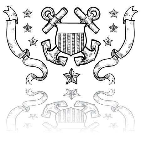 coast guard: Doodle insignias de rango de estilo militar para Guardia Costera de EE.UU. tales como anclas cruzadas detr�s de escudo