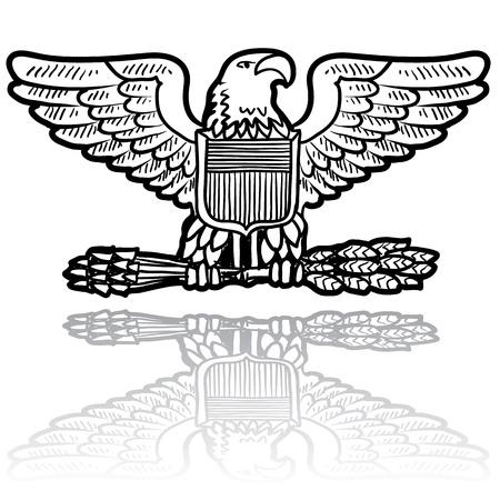 sheaf: Doodle estilo militar insignias de rango para el Ej�rcito de los EE.UU. incluyendo �guila con la gavilla de trigo Vectores