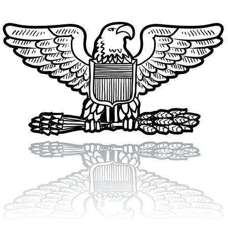 Doodle style military rank insignia for US Army including Eagle with sheaf of wheat  Vector