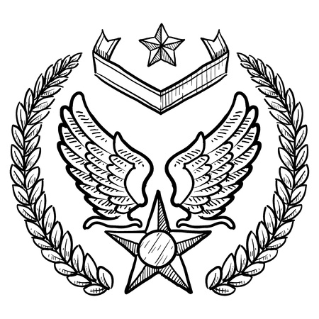 jet fighter: Doodle style military insignia for US Air Force including eagle wings and star