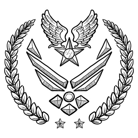 us air force: Doodle style military rank insignia for US Air Force, modern with abstract eagle wings and star