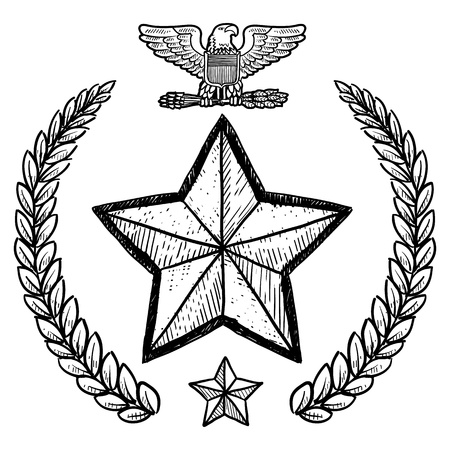lapel: Doodle style military rank insignia for US Army including star and wreath  Illustration