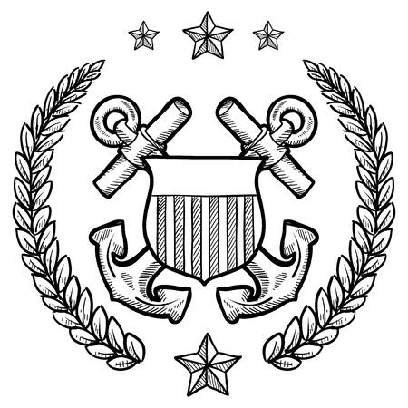 surrounded: Doodle stile militare rango insegne per la US Navy tra ancore incrociate, circondati da ghirlanda Vettoriali