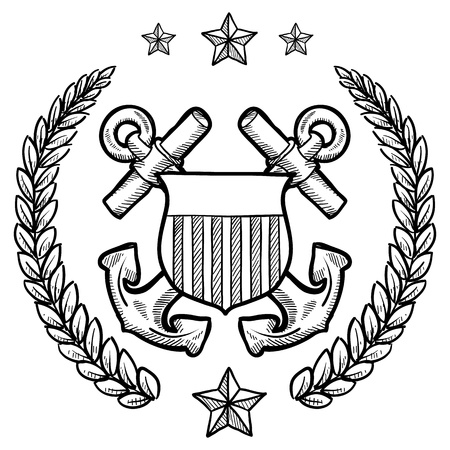 navy: Doodle style military rank insignia for US Navy including crossed anchors surrounded by wreath  Illustration